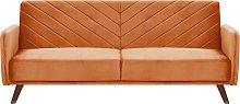 Retro Velvet Fabric Sofa Bed 3 Seater Orange
