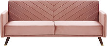 Retro Velvet Fabric Sofa Bed 3 Seater Pink
