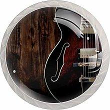 Retro Violin BrownRound Glass knob White Drawer
