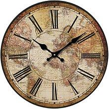 Retro Wall Clock, Vintage World Compass Map Travel