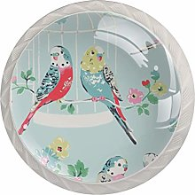 Retro Watercolor Blue Budgies Parrots and Floral