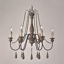 Retro Wood Bead Chandelier,Country Cottage Beaded