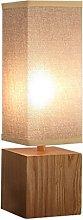 Retro Wood Lamps, Linen Lampshade Rectangular,