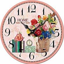 Retro Wooden Silent Wall Clocks Blumen Und