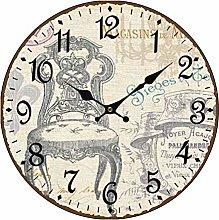 Retro Wooden Silent Wall Clocks Europäischer