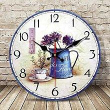 Retro Wooden Silent Wall Clocks Purpurrote