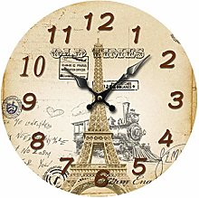 Retro Wooden Silent Wall Clocks Turm Shabby Chic