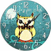Retro Wooden Wall Clock Idyllic Blue And Owl