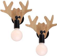 Retro Wooden Wall Lamp Black Modern Cute Deer Wall
