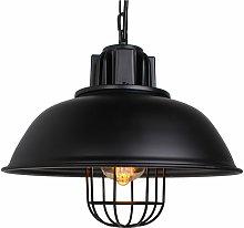 Retro wrought iron lampshade pendant light E27 pot
