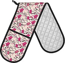 RETRUA Pink Flower Double Oven Gloves Heat