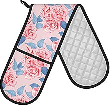 RETRUA Pink Rose Flower Double Oven Gloves Heat
