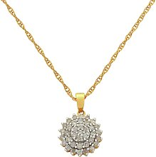 Revere 9ct Gold Diamond Cluster Pendant Necklace