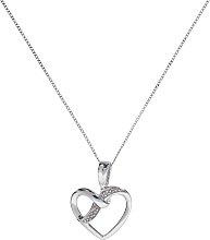 Revere 9ct White Gold Diamond Heart Pendant