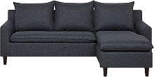 Reversible Fabric Corner Sofa Dark Grey ELVENES
