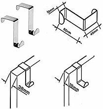 Reversible Over Door Hook - Stainless Steel - Set