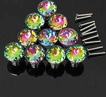 Revesun 8PCS Colorful Diamond Shape Crystal Glass