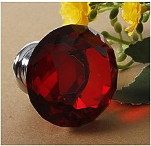 Revesun 8pcs Red 40mm Crystal Glass Cabinet Knobs