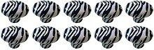 Revesun 8PCS Zebra Animal Print Ceramic Cabinet