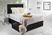 Revive Direct Comfortable Orthopaedic Memory Foam Designer Bed Frame with Storage Drawers-Luxurious Bed with Headboard in Black with Soft, Breathable Fabric Cover, Metal Feet - 5ft King 2 Drawers
