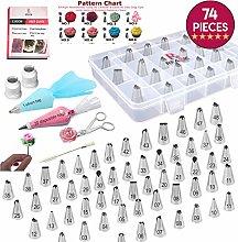 RFAQK 74 Pcs Piping Bags And Tips Supplies Kit &