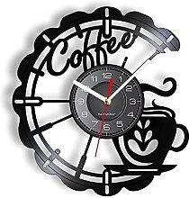 RFTGH Coffee cup long wall clock kitchen