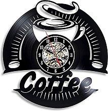RFTGH Coffee vinyl record wall clock retro 3D