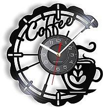RFTGH Coffee wall art vinyl record clock kitchen