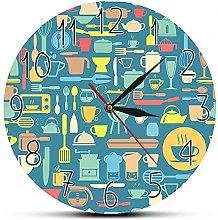 RFTGH Kitchen wall clock with modern art prints,