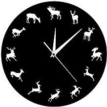 RFTGH Modern wall clock with wild animals,