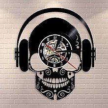 RFTGH Skull wall clock with headphones home decor