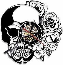 RFTGH Skull wall clock with rose retro vinyl