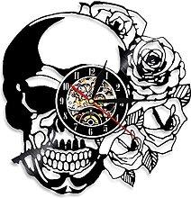 RFTGH Skull wall clock with rose vinyl record wall