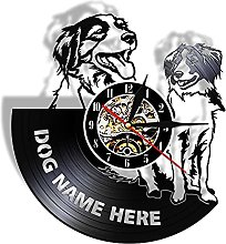 RFTGH Vinyl wall clock with custom dog name vinyl