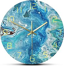 RFTGH Wall clock printed with marble pattern, art