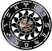 RFTGH Zodiac Vinyl Wall Clock Modern Design 3D