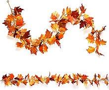 RFWIN 2 Pack Artificial Autumn Maple Leaf Garlands