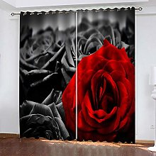 RGDFBG Aldult Blackout Curtain Red Gray Rose