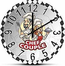 Rgzqrq Chef Silence Couple No Kitchen Wall Clock