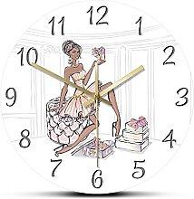 Rgzqrq High heels luxury wall clock fashion girl