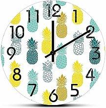 Rgzqrq Pineapple kitchen art printing wall clock