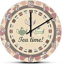 Rgzqrq Tea time retro kitchen wall clock breakfast