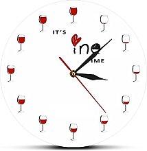 Rgzqrq Wine Time Wall Clock Quartz Silent