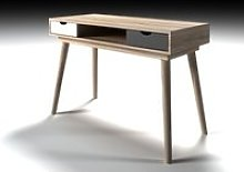 Rhine Laptop Desk In Sonoma Oak With White And