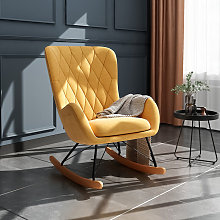 Rhombus Linen Rocking Chair Armchair With Pocket,