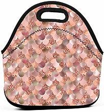 Rhrdh Neoprene Lunch Tote Bag Rose Gold Mermaid