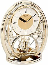 Rhythm Mantel Clock Gold Gilt Oval w Rotating