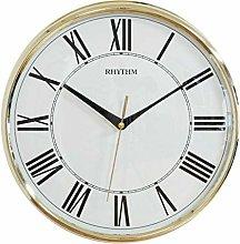 Rhythm Round Wall Clock Gold Silent Movement
