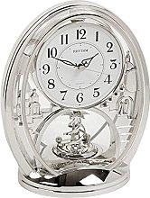 Rhythm Silver Oval Mantel Clock - Shooting Star