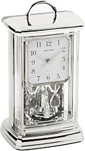 RHYTHM Silver Tone Mantel Clock - Analogue 12 Hour